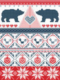 Scandinavian style  Christmas  seamless pattern in cross stitch with polar bear, Christmas tree, heart, robin bird , bauble Royalty Free Stock Photography