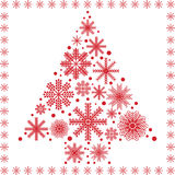 Scandinavian style Christmas tree shape made out of different types of snowflakes Royalty Free Stock Photography