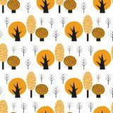 Scandinavian style cute trees seamless pattern. Black and yellow nature background. Autumn forest vector illustration. Design for textile, wallpaper, fabric stock illustration