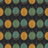 Scandinavian style decorative trees seamless pattern on dark background. Cute nature background with colorful leaves. Autumn forest vector illustration. Design Stock Photos