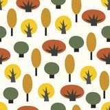 Scandinavian style decorative trees seamless pattern. Colorful nature background. Autumn forest vector illustration. Design for textile, wallpaper, fabric royalty free illustration