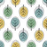 Scandinavian style decorative trees seamless pattern. Cute nature background with colorful leaves. Autumn forest vector illustration. Design for textile Stock Photos