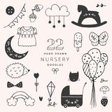 Hand Drawn Nursery Doodles. Set of 22 Cute Kids Elements. stock image