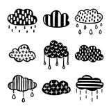 Scandinavian style hand drawn clouds set. Vector vintage illustration. Royalty Free Stock Photos