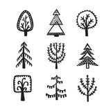 Scandinavian style hand drawn trees set. Vector vintage illustration. Royalty Free Stock Photography