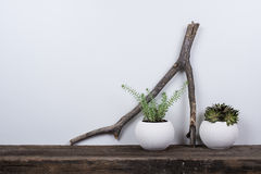 Scandinavian style home decor with rustic wooden board Stock Photos