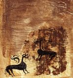 Scandinavian style inspired artwork. Mysterious creatures in black and brown ink- rusty background Stock Photo