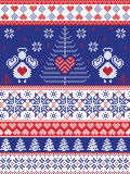 Scandinavian style inspired Christmas and festive winter seamless pattern in cross stitch, knitting style with Xmas trees ,. Snowflakes, angels, stars, hearts Stock Photo