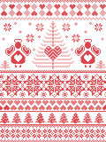 Scandinavian style inspired Christmas and festive winter seamless pattern in cross stitch, knitting style with Xmas trees , angels. Scandinavian style inspired Stock Photography