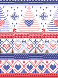 Scandinavian style inspired Christmas and festive winter seamless pattern in cross stitch style: Xmas trees, snowflakes, Rabbiits. Scandinavian style inspired Royalty Free Stock Photos