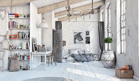 Scandinavian  Bedroom interior. Scandinavian style interior. Bedroom attic. 3d rendering Stock Photo
