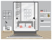 Scandinavian Style Interior. Bedroom with trendy furniture Royalty Free Stock Photography