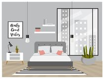 Scandinavian Style Interior. Bedroom with trendy furniture stock illustration