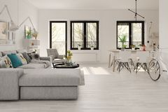 Free Scandinavian Style Interior Design 3D Rendering Royalty Free Stock Images - 113508419
