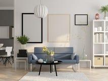 Scandinavian style interior design 3D rendering Stock Photo