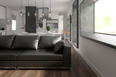 Scandinavian style interior design 3D rendering Royalty Free Stock Photography