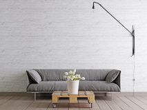 Scandinavian style livingroom with fabric sofa, lamp and plant in bucket on white empty wall background. stock illustration