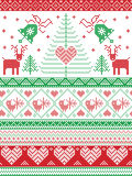 Scandinavian style and Nordic culture inspired Christmas,  festive winter seamless pattern in cross stitch style with bells, trees. Snowflakes, birds, stars Stock Photography