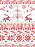 Scandinavian style and Nordic culture inspired Christmas and festive winter seamless pattern in cross stitch style with Xmas trees. Snowflakes, starts Royalty Free Stock Photos