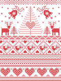 Scandinavian style and Nordic culture inspired Christmas and festive winter seamless pattern in cross stitch style with Xmas trees. Scandinavian style and Nordic Stock Images