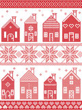 Scandinavian style and Nordic culture inspired Christmas seamless winter pattern including Swedish style houses, ornaments Royalty Free Stock Image