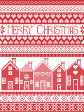 Scandinavian style and Nordic culture inspired Merry Christmas seamless card with  winter pattern including Swedish style houses Royalty Free Stock Photography