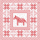 Scandinavian style Nordic winter cross  stitch, knitting Royalty Free Stock Photos