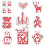 Scandinavian style Nordic winter red switch , knitting Christmas pattern Royalty Free Stock Images