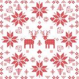 Scandinavian style Nordic winter stich, knitting seamless pattern  Royalty Free Stock Image