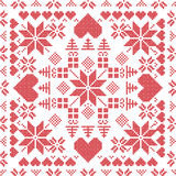 Scandinavian style Nordic winter stich , knitting seamless pattern  Royalty Free Stock Photos