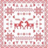 Scandinavian style Nordic winter stich, knitting seamless pattern  Stock Photography