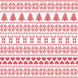 Scandinavian style, Nordic winter sweater stitch, knit pattern. Including star, Xmas tree, Xmas gift, heart element in red on white background in seamless style Stock Images