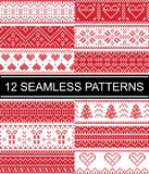 Scandinavian style  patterns  inspired by Norwegian Christmas, festive winter seamless pattern in cross stitch with heart, s. Nowflake, Christmas tree, snow Stock Image