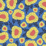 Scandinavian style retro flower background. Seamless floral vector pattern. Red and yellow flowers on blue background. Modern vector illustration