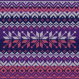 Scandinavian style seamless knitted pattern. Colors: blue, white Stock Photography