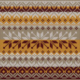 Scandinavian style seamless knitted pattern. Colors: yellow, whi Stock Photos