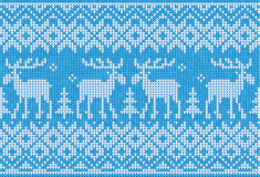 Scandinavian style seamless knitted pattern with deers Stock Photography