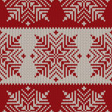 Scandinavian style seamless knitted pattern with snowflakes. EPS available Royalty Free Stock Photo
