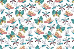 Scandinavian style seamless pattern with cartoon bugs and butter. Flies. Perfect for bedroom and nursery fabrics. Vector illustration Royalty Free Stock Images