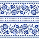 Scandinavian style seamless vector pattern with flowers, Nordic folk art repetitive navy blue ornament - horizontal stripes Vector Illustration