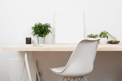 Scandinavian style startup work space stock photography