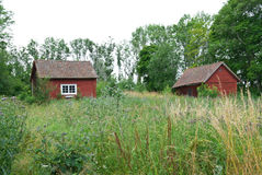 Scandinavian summer, traditional old red houses Royalty Free Stock Image