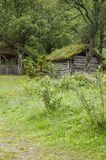 Scandinavian traditional house with green roof. Ancient building traditions Royalty Free Stock Images