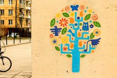 Scandinavian tree of life on the wall stock photos