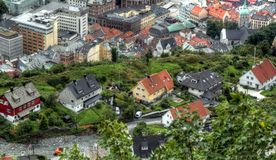 Scandinavian urban exploration on a cloudy day Royalty Free Stock Images