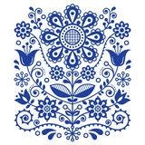 Scandinavian vector folk art pattern, floral retro ornament design, Nordic style ethnic decoration Stock Photos