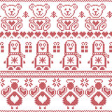 Scandinavian vintage Christmas  Nordic seamless pattern with penguin, angel, teddy bear, xmas gifts, hearts, decorative ornaments,. Christmas trees in red cross Royalty Free Stock Photos