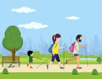 Scandinavian walking. Family engaged in Scandinavian walking park stock illustration