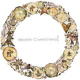 Scandinavian watercolor christmas illustration. winter holiday background. Royalty Free Stock Image
