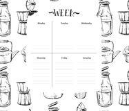 Scandinavian Weekly and Daily food Planner Template.Organizer and Schedule with Notes and To Do List.Vector. Royalty Free Stock Photo